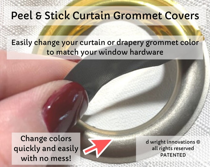 Featured listing image: Peel & Stick Curtain/Drapery Grommet Covers - Easily Change the Color of Your Curtain Panel Grommets to Match Your Curtain Rod - Set of 16