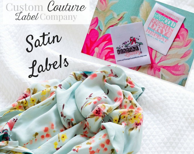 Featured listing image: Custom Satin Labels - Clothing Labels - Sewing Tags - Sublimated Labels - 100 - UNLIMITED COLORS - Made in USA