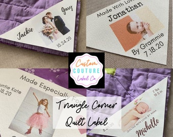 Triangle Corner Quilt Label, Triangle Quilt Photo Label, Custom Photo Patch, Custom Quilt Label, Wedding Gift, Baby Gift, Blanket Label