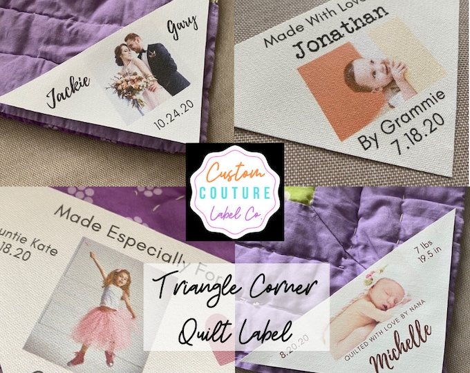 Featured listing image: Triangle Corner Quilt Label, Triangle Quilt Photo Label, Custom Photo Patch, Custom Quilt Label, Wedding Gift, Baby Gift, Blanket Label
