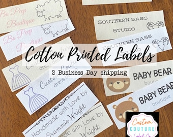 Cotton Labels - 30 Cotton Printed Fabric Labels - NO FRAY - WASHABLE - White or Ivory - Quick 2 Business day Shipping!