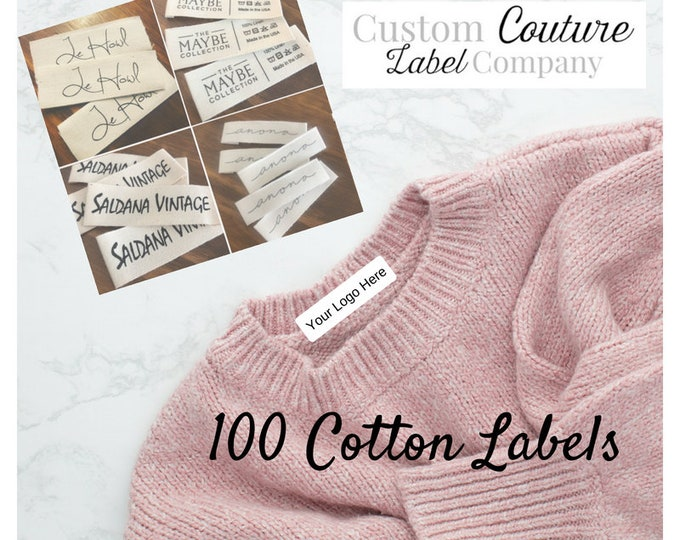 "Featured listing image: 100 White or Natural Cotton Twill Printed Clothing Labels -  Sewing Tags - ONE Color Imprint - .5 - 1"" width"