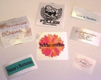 Screenprinted satin labels - 600 Custom Printed WHITE Satin Labels - Smooth Satin Clothing Labels - Sewing Tags - Up to 4 Colors