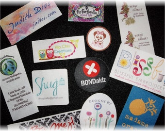 500 SELF ADHESIVE Custom Printed White Poly Clothing/Accessory Labels - Sewing tags - Unlimited Colors - FREE Die Cutting