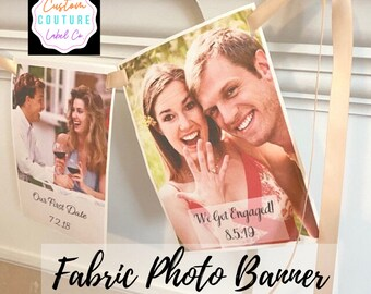 Custom Fabric Photo Banner, 1st Birthday Banner, Bridal Shower Banner, Graduation Banner, Family Reunion Banner, Wedding Banner