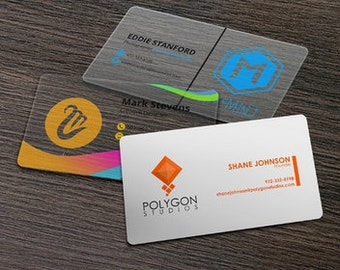 Custom Plastic Business Cards or Hangtags - Clear - Frosted or White Plastic - Thick 20pt Waterproof Cards