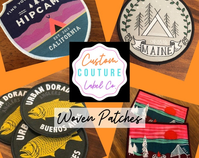 Featured listing image: Custom Patches - Woven Patches - Sew On Patches - Iron On Patches - Hook and Loop Patches - Velcro Brand Backed Patches - A USA Company