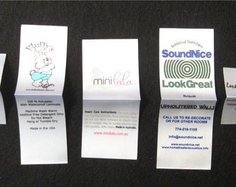 Custom Printed WHITE Satin Labels - Clothing Labels - Sewing Tags - 100 - SCREENPRINTED - Up to 4 Colors
