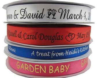 100 Yards of Custom Printed Satin Ribbon  -  Can be used for craft labels- too