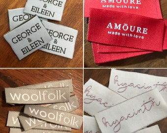 100 IRON ON Woven Labels - Clothing Labels - Sewing Tags - Text Only