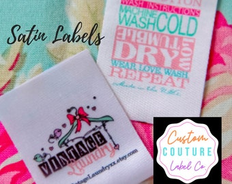 Custom Satin Labels - Smooth Satin Clothing Labels - Sewing Tags - Sublimated Labels - 100 - UNLIMITED COLORS - Made in USA