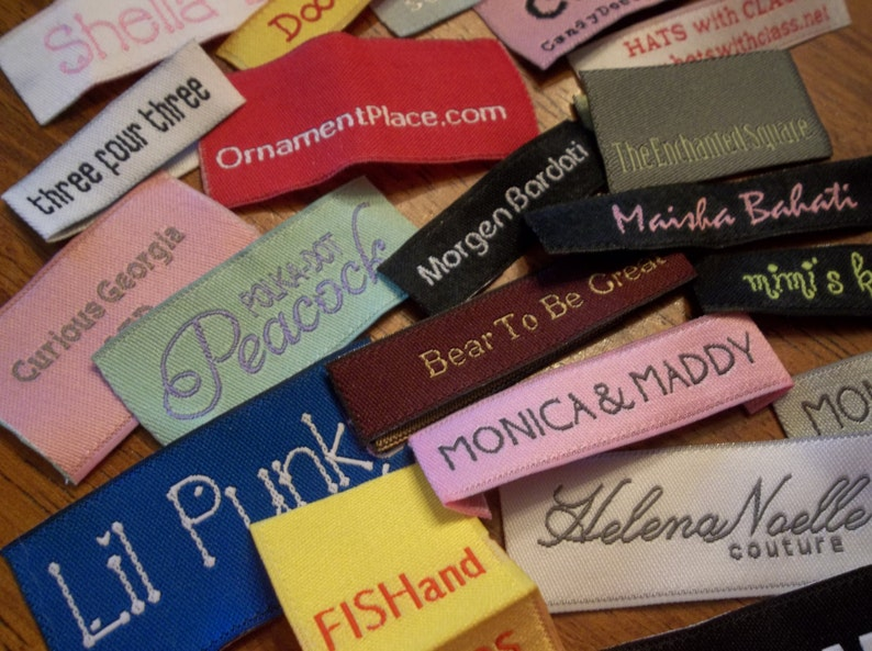 Damask Labels Custom Woven Labels Made in USA TEXT ONLY Fashion Brand Labels Sewing Tags Woven Clothing Labels