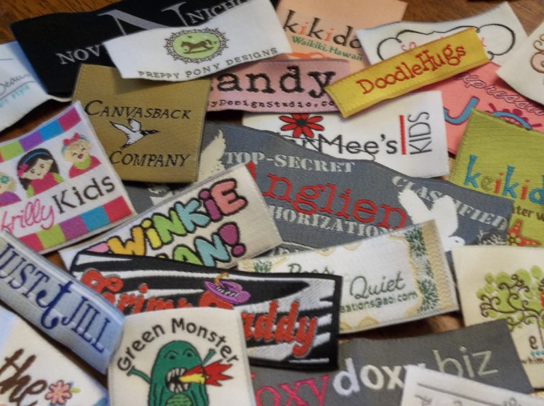 Up to 8 Colors 200 SELF ADHESIVE Woven Labels Use Your Own Artwork Made in the Usa