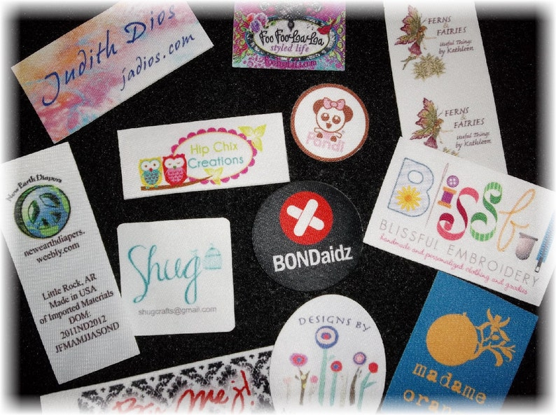 Sublimated Labels No Fray FREE Die Cutting 100 IRON ON Custom Printed Clothing Labels Unlimited Colors Sewing Tags