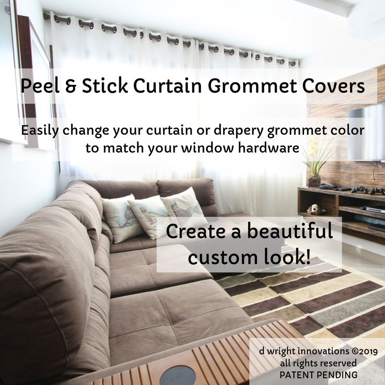 Peel /& Stick CurtainDrapery Grommet Covers Set of 16 Easily Change the Color of Your Curtain Panel Grommets to Match Your Curtain Rod
