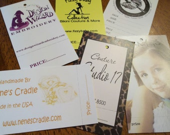 Made in USA 100 Custom Printed Perforated Hang Tags - Professionally offset printed - Super Thick 15pt Cardstock