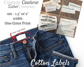 """100 Cotton Labels, 1.5"""" or 2"""" width - White or Natural Cotton Twill Printed Clothing Labels -  Sewing Tags - ONE Color Imprint - Made in USA"""