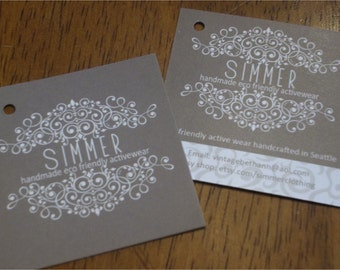 250 Custom Printed 2 inch Square Hang Tags  - Great High End Quality - Professionally Printed - Super Thick 14pt Cardstock