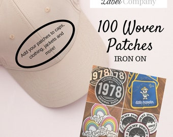 Made in USA 100 Custom IRON ON Patches - Your own artwork - Up to 10 Colors