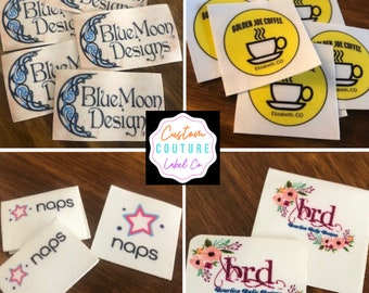 100 Printed Clothing Labels - SEW ON - Sewing Tags - Unlimited Colors - No Fray and No Fade - FREE Die Cutting