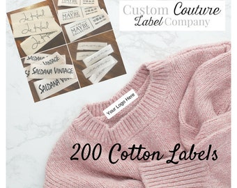 """200 White or Natural Cotton Twill Printed Clothing Labels -  Sewing Tags - ONE Color Imprint - .5 - 1"""" width"""