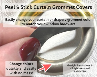 Peel & Stick Curtain/Drapery Grommet Covers - Easily Change the Color of Your Curtain Panel Grommets to Match Your Curtain Rod - Set of 16