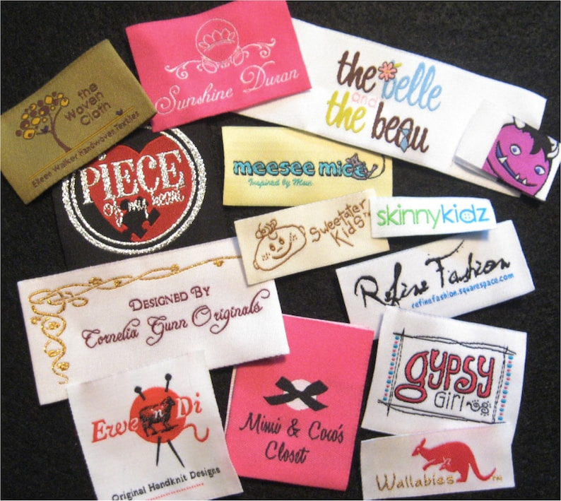 Made in the Usa Your Own Artwork Fashion Brand Labels 100   Custom Woven Labels Woven Clothing Labels Up to 8 Colors
