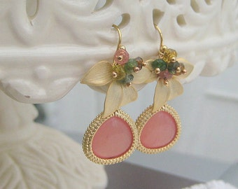 Jade And Tourmaline Wild Orchid Drop Earrings