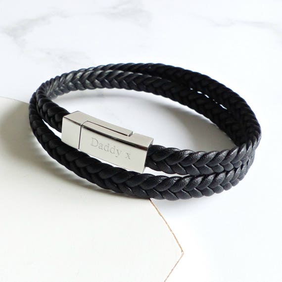 e882353e4ee17 Mens Personalized Woven Leather Wrap Bracelet - Anniversary Gifts For Men,  Mens Personalized Bracelet, Gift For Men, Leather Wrap Bracelet