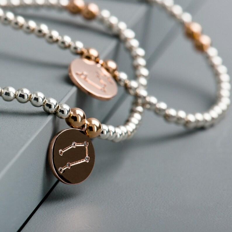 db01761c3c7ecd Sterling Silver Personalised Zodiac Charm Bracelet-Horoscope   Etsy