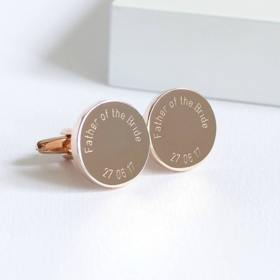 Rose Gold Oval Father of the Bride I loved Her First Engraved Wedding Cufflinks