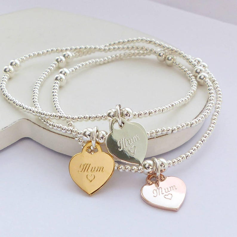 3af3eceb63bb0 Sterling Silver Mum Heart Charm Beaded Bracelet - Personalised Gift, Gift  for Her, Layering Bracelet, Gift for Mum, Beaded Bracelet