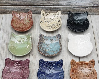Little Cat Bowl Jewelry Holder Cat Jewelry Dish Gift for Cat Lovers Ceramics and Pottery Ring Holder