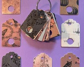 Antique looking Halloween floss tags