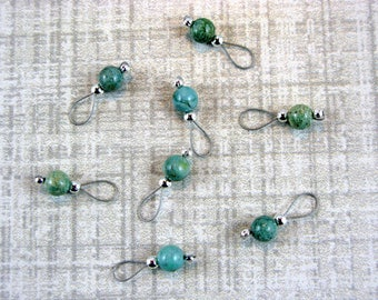 African Jade Stitch Markers On Silver Wire - US 10 - Item No. 546