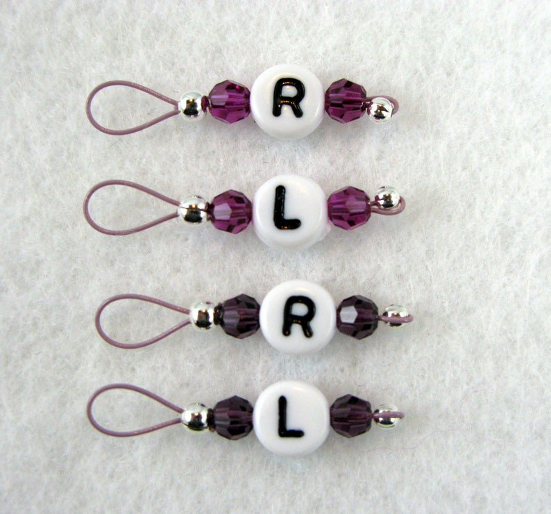 Swarovski Crystal Sock Knitters Stitch Markers Left and Right image 0