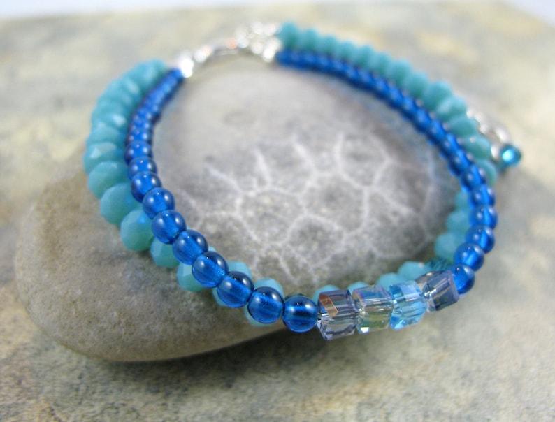 OOAK Turquoise Beaded Double Strand Bracelet  Item 1077 image 0