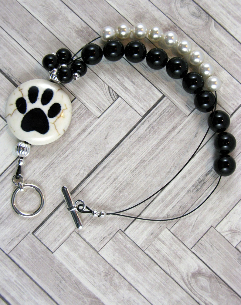 Animal Paw Prints Black Onyx Row Counting Bracelet for image 0