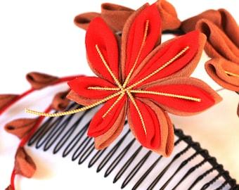 Vintage Kimono Momiji (Japanese Maple)Tsumami Kanzashi comb with Hanging Petals