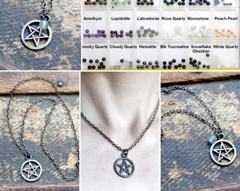 Custom Pentacle Necklace - A Gemstone Bead of Your Choice - Pentagram Witchcraft Witch Pagan Wicca