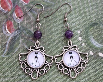 Cats and Amethyst Cabochon Earrings - Victorian Vintage Style