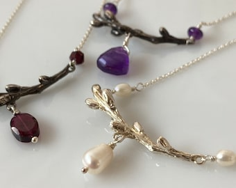 Woodland Gem pendant, sterling silver twig jewelry with gemstone drops, Ready to ship