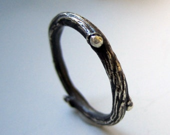 Willow twig ring, sterling silver, blackened twig jewelry, made to order, your size