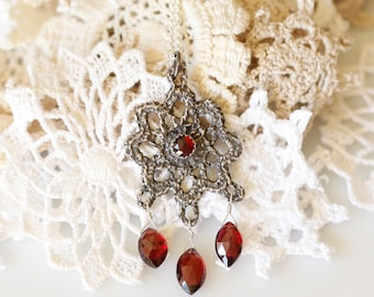 Lace jewelry, Vintage lace pendant, Sterling and garnet necklace, Bridal jewelry, antique lace