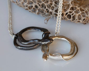 Snake jewelry, Coiled Snake Pendant, Sterling silver serpent necklace, ready to ship