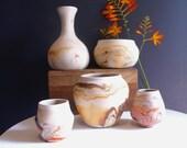 5  Vintage Nemadji Pottery Vases, Instant Collection Lot Set