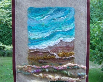 No.450 Surf and Shore -  Needlefelt Art Beach Banner XLarge