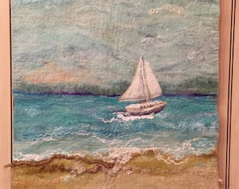 No.40 Sunday Sail - Wet felted wall hanging