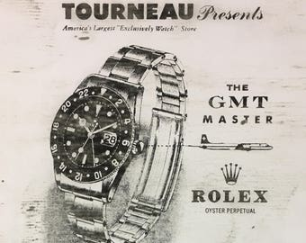 ROLEX GMT MASTER Ref 6542 Tourneau Ad from the 50's  Vintage Ad Art Rustic art Design by Jonathan Sebastian