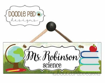 Personalized Teacher Name Sign, Classroom Door Sign,